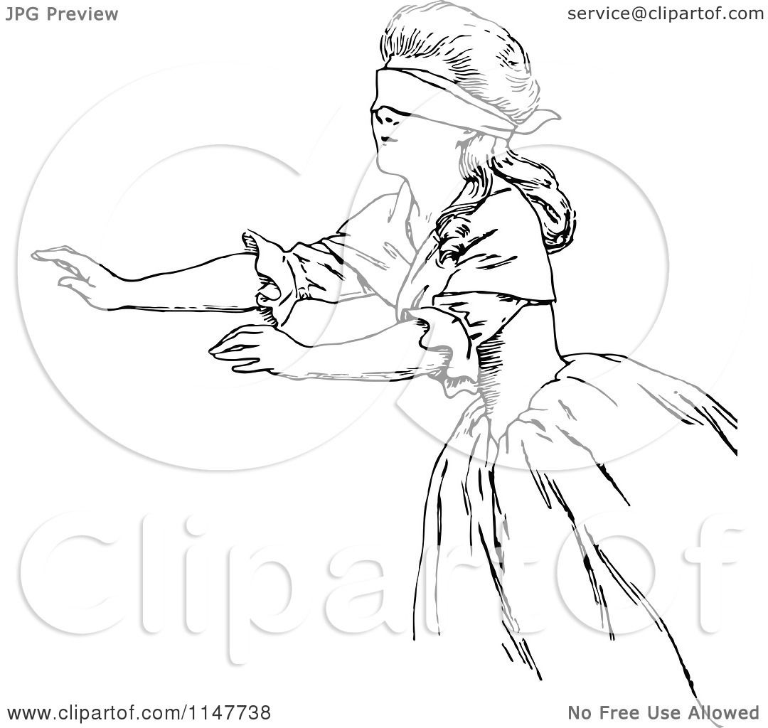Clipart Of A Retro Vintage Black And White Reaching Blindfolded Woman