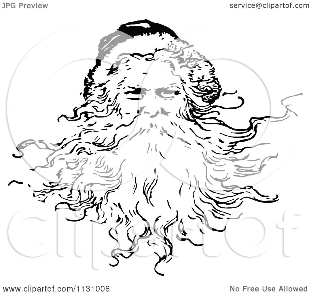 Clipart Of A Retro Vintage Black And White Santa With A