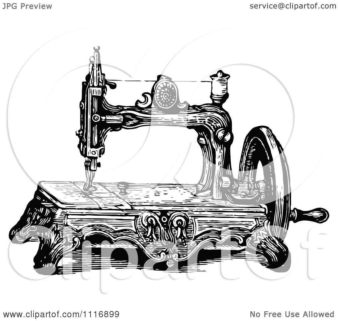 Clipart Of A Retro Vintage Black And White Sewing Machine