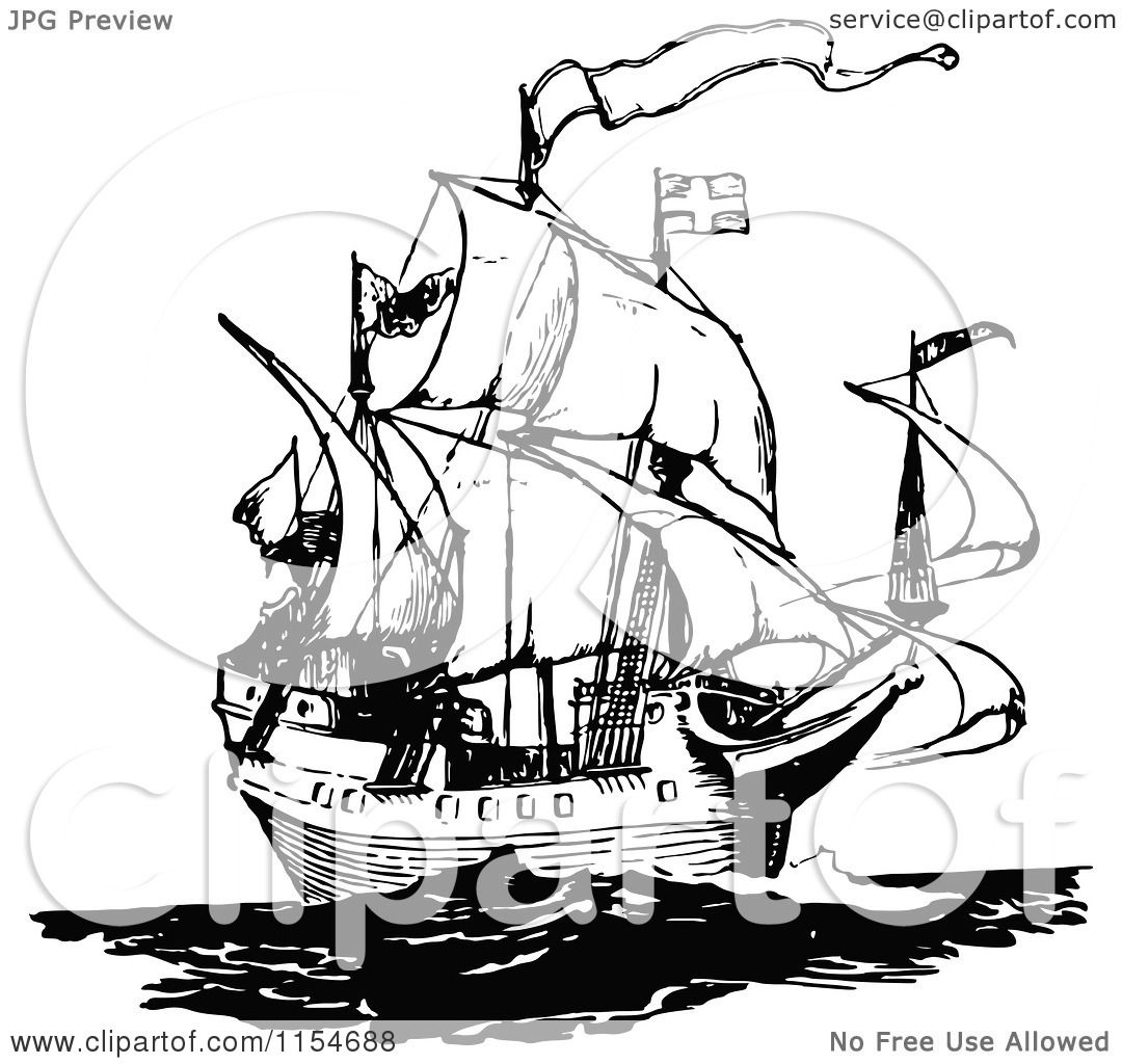 Clipart Of A Retro Vintage Black And White Ship 2