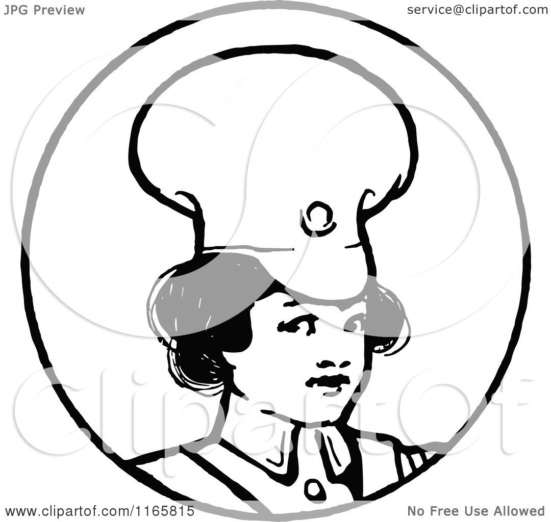 Clipart Of A Retro Vintage Black And White Sol R Girl In