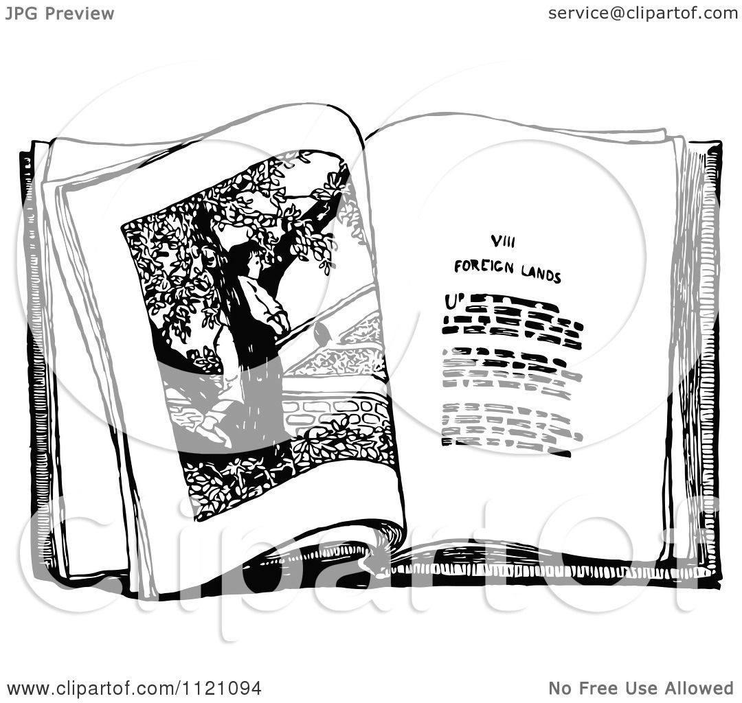 Clipart Of A Retro Vintage Black And White Story Book
