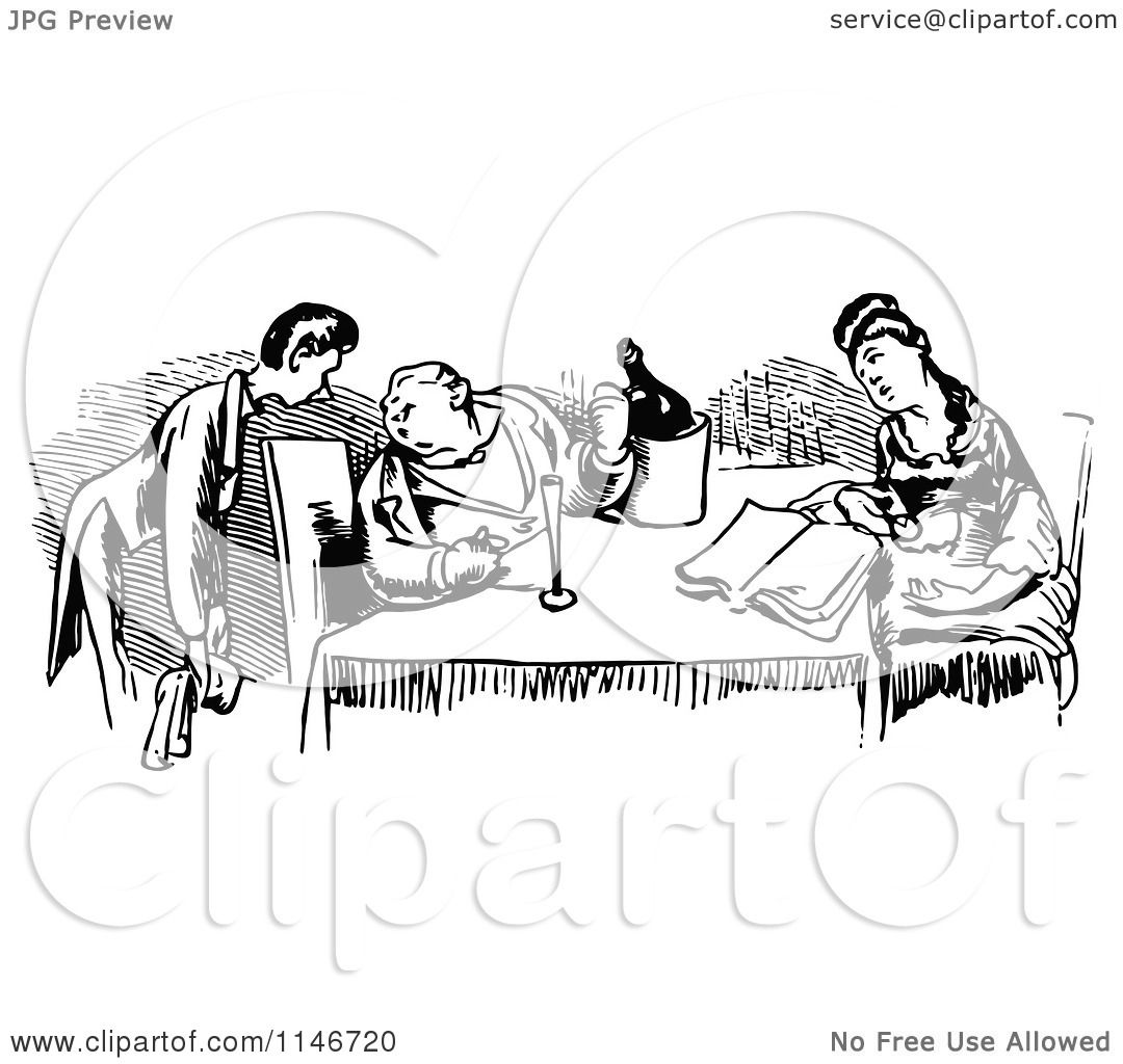 Clipart Of A Retro Vintage Black And White Waiter And Couple