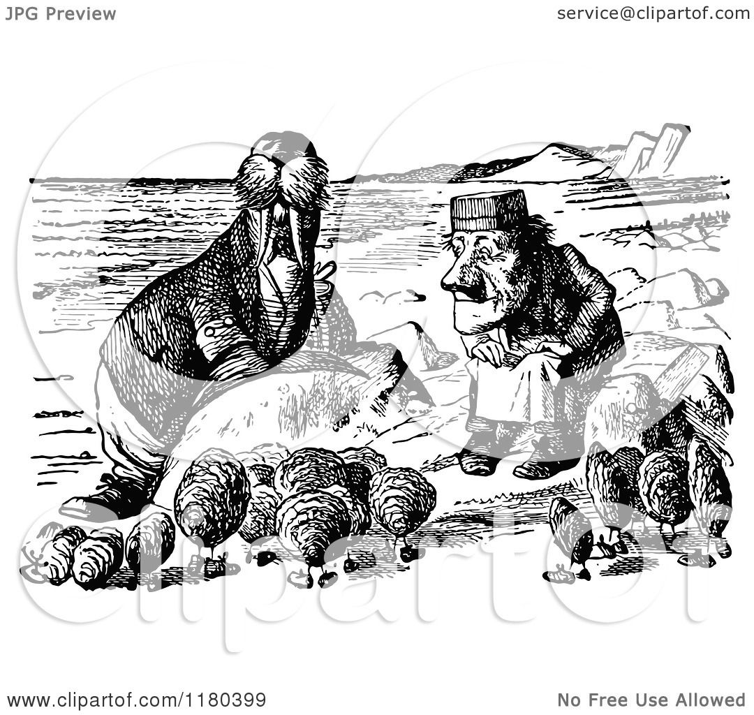 Clipart Of A Retro Vintage Black And White Walrus Oysters