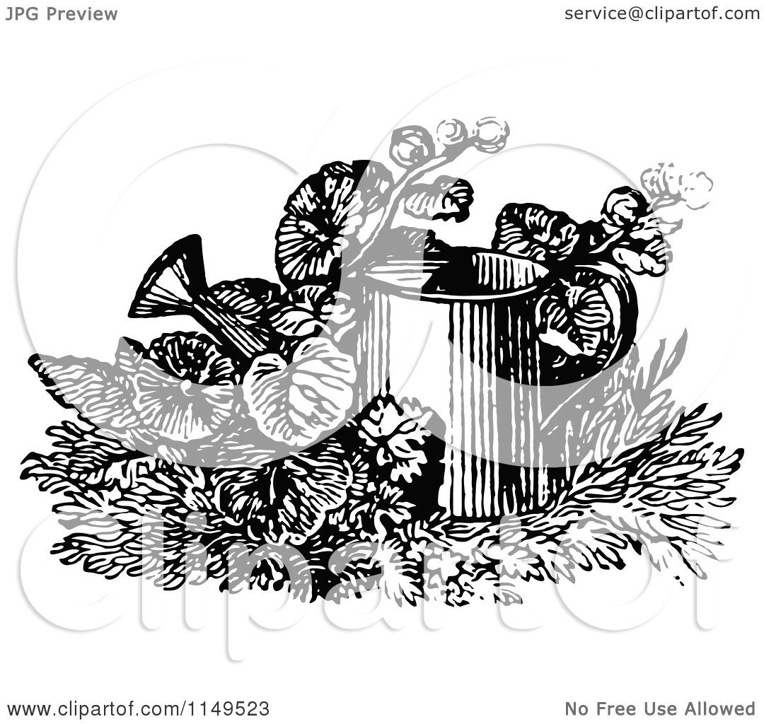 Clipart Of A Retro Vintage Black And White Watering Can In