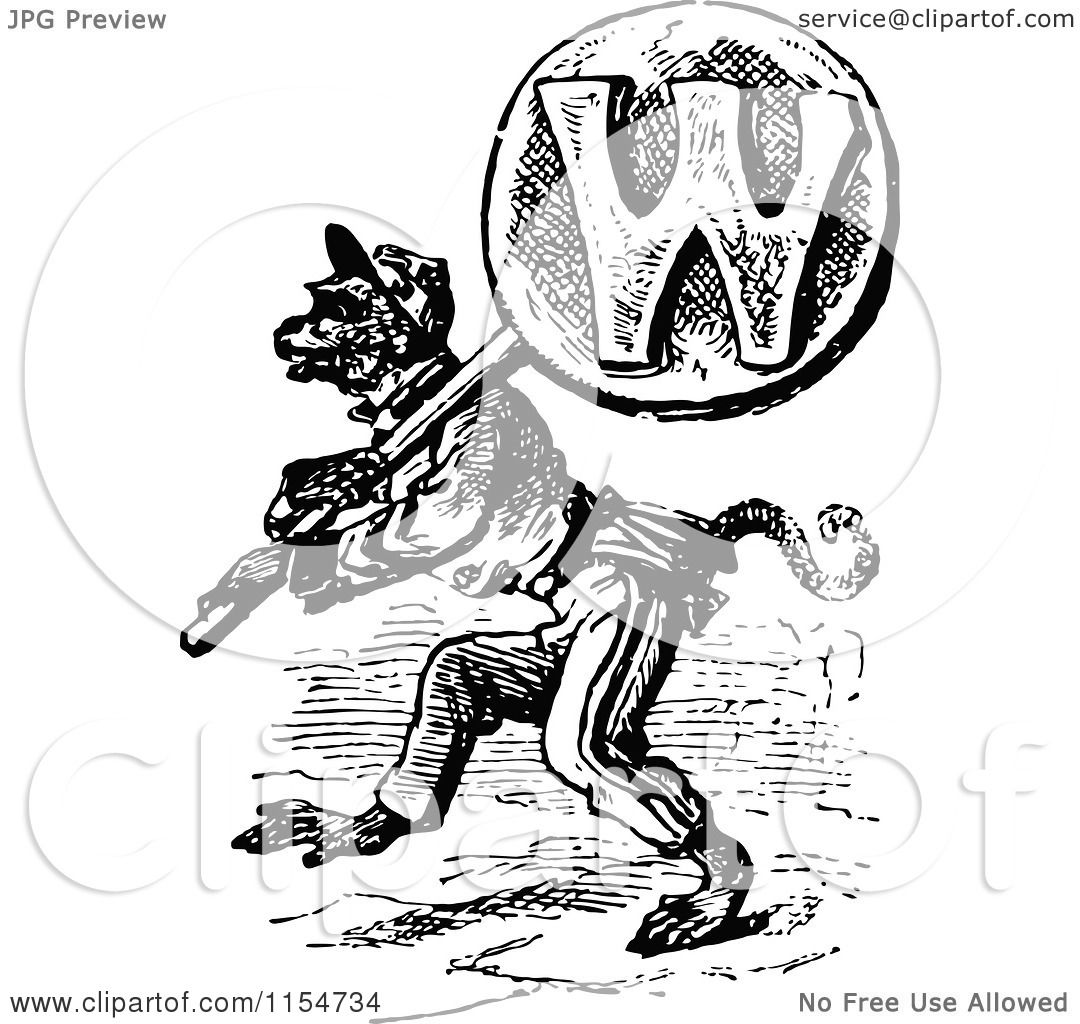Clipart of a Retro Vintage Black and White Wolf Carrying