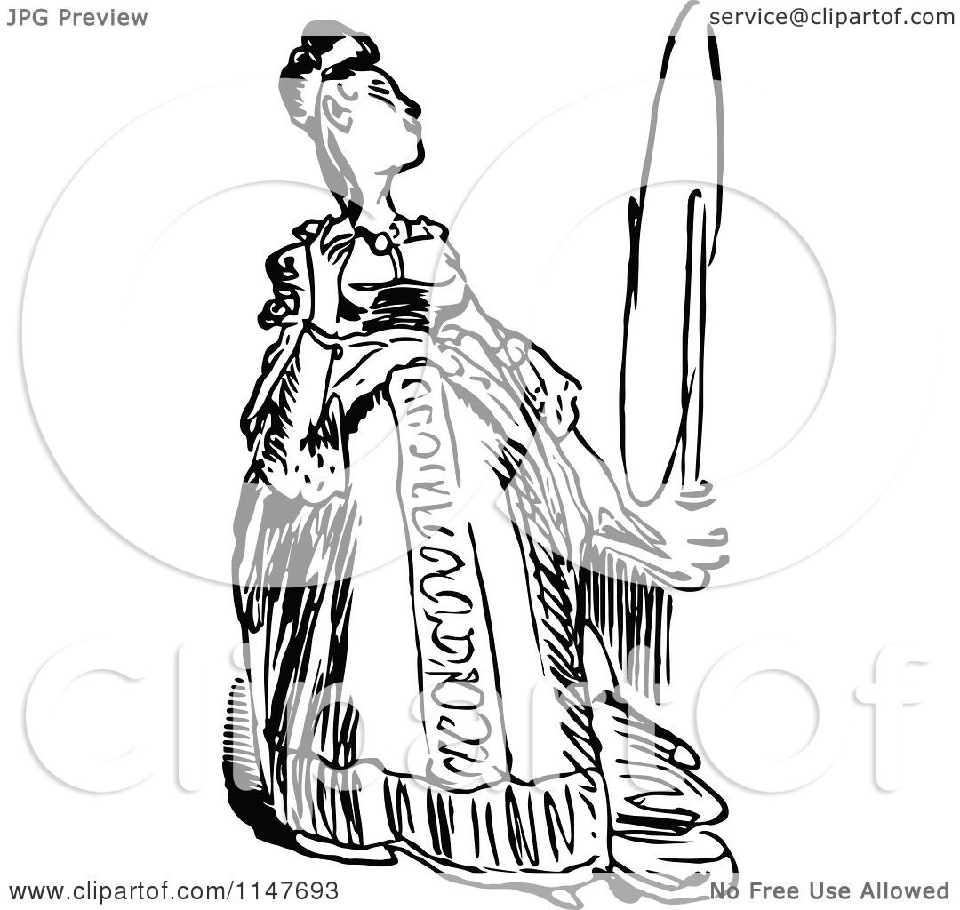 Clipart Of A Retro Vintage Black And White Woman Admiring