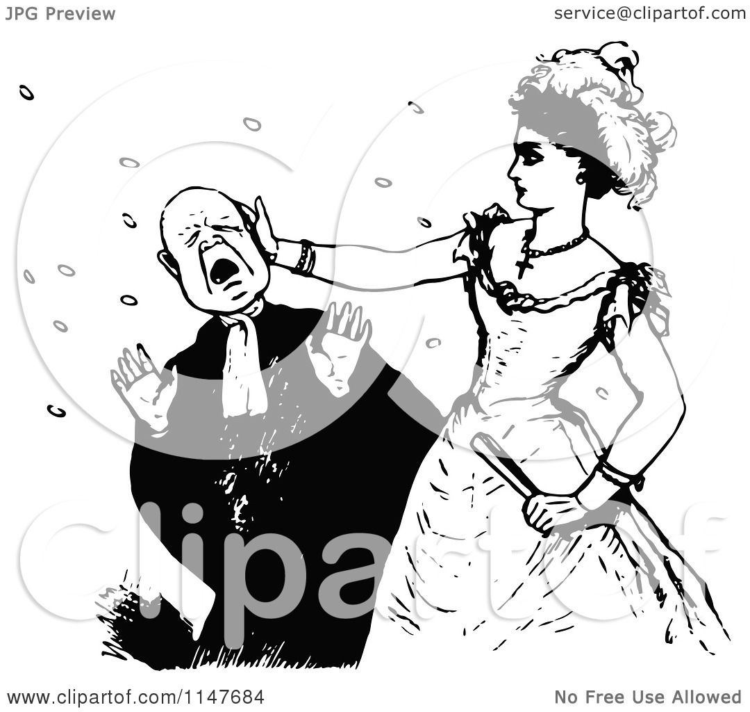 Clipart Of A Retro Vintage Black And White Woman Slapping