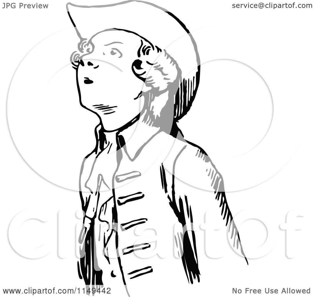 Clipart Of A Retro Vintage Black And White Young Man
