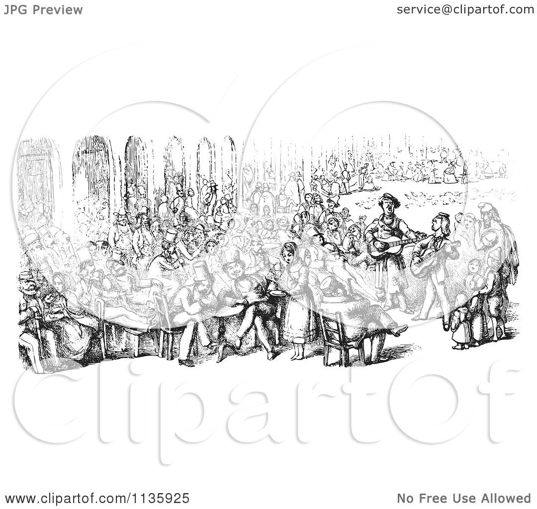 Clipart Of A Retro Vintage Crowd In Piazza San Marco In