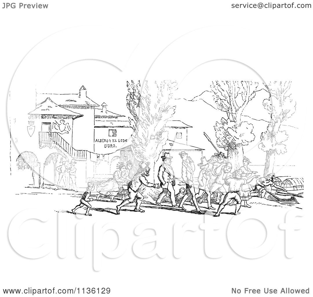 Clipart Of A Retro Vintage Crowd On Shore In Black And