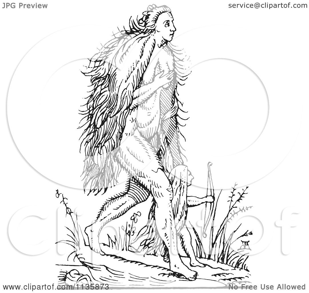 Clipart Of A Retro Vintage Fantasy Hairy Woman And Child