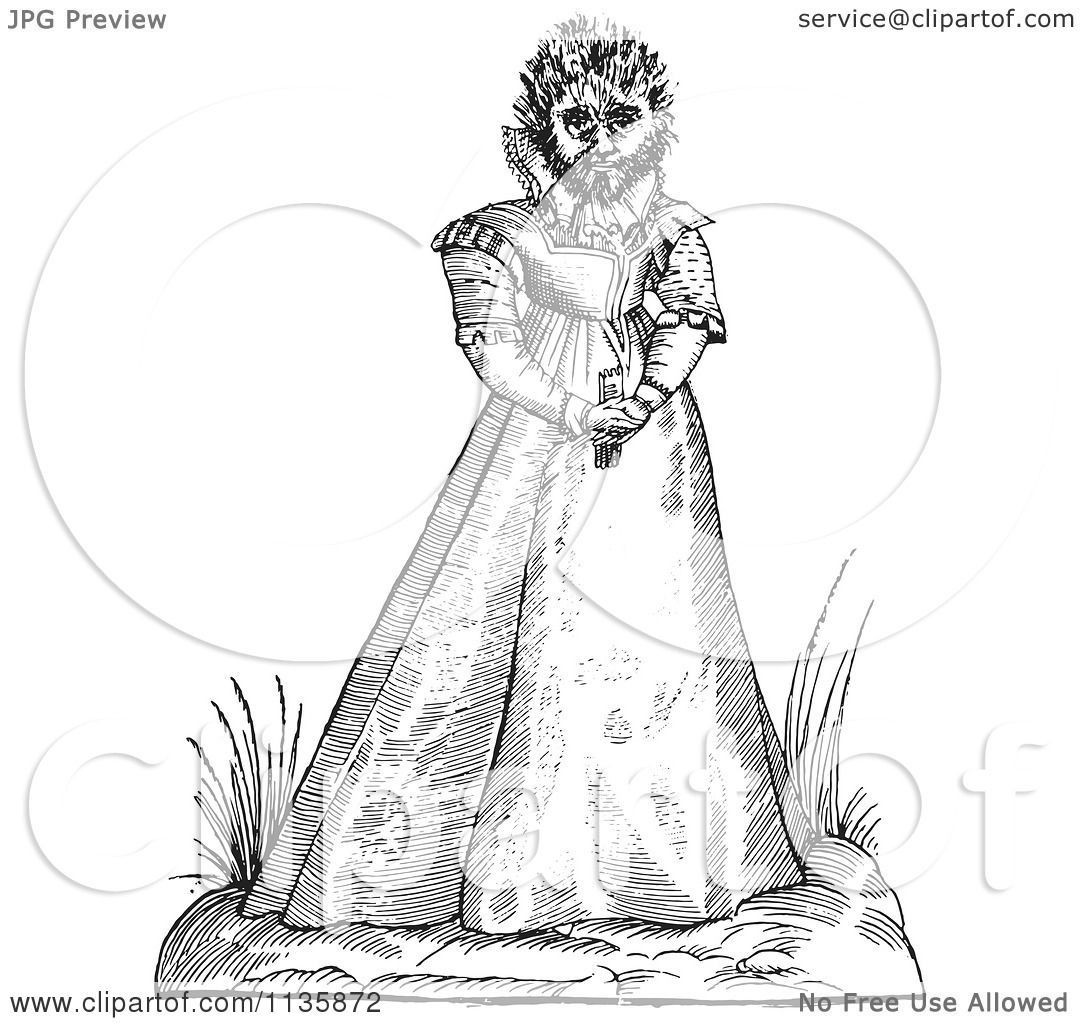Clipart Of A Retro Vintage Fantasy Hairy Woman Maphoon
