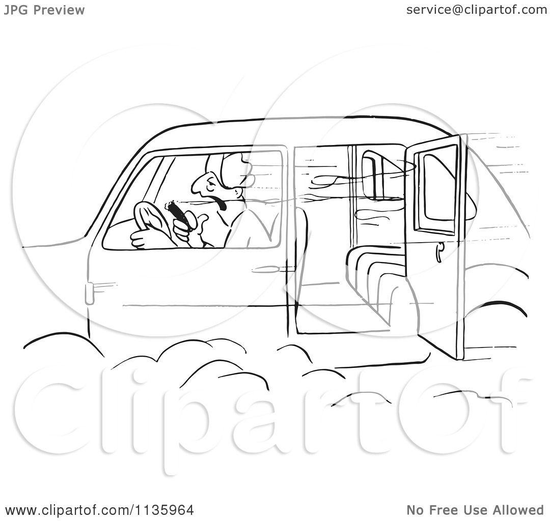 Clipart Of A Retro Vintage Man Smoking A Cigar In A Car