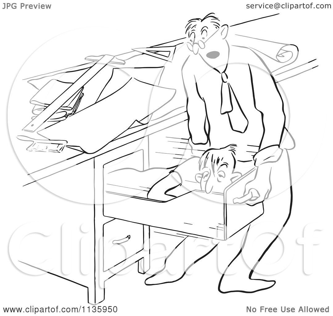 Clipart Of A Retro Vintage Office Worker Man Sleeping In