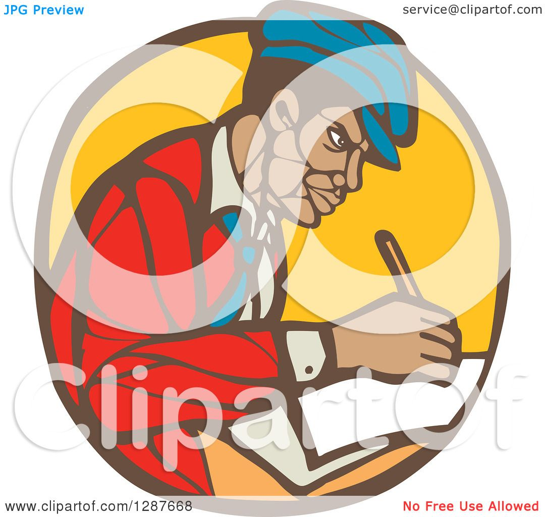 Clipart Of A Retro Woodcut Black Male Journalist Writing