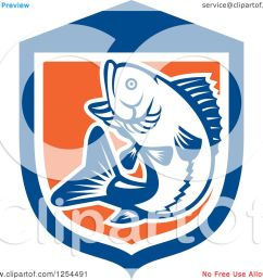 clipart of a retro woodcut largemouth bass fish jumping in a blue and orange shield royalty [ 1080 x 1024 Pixel ]