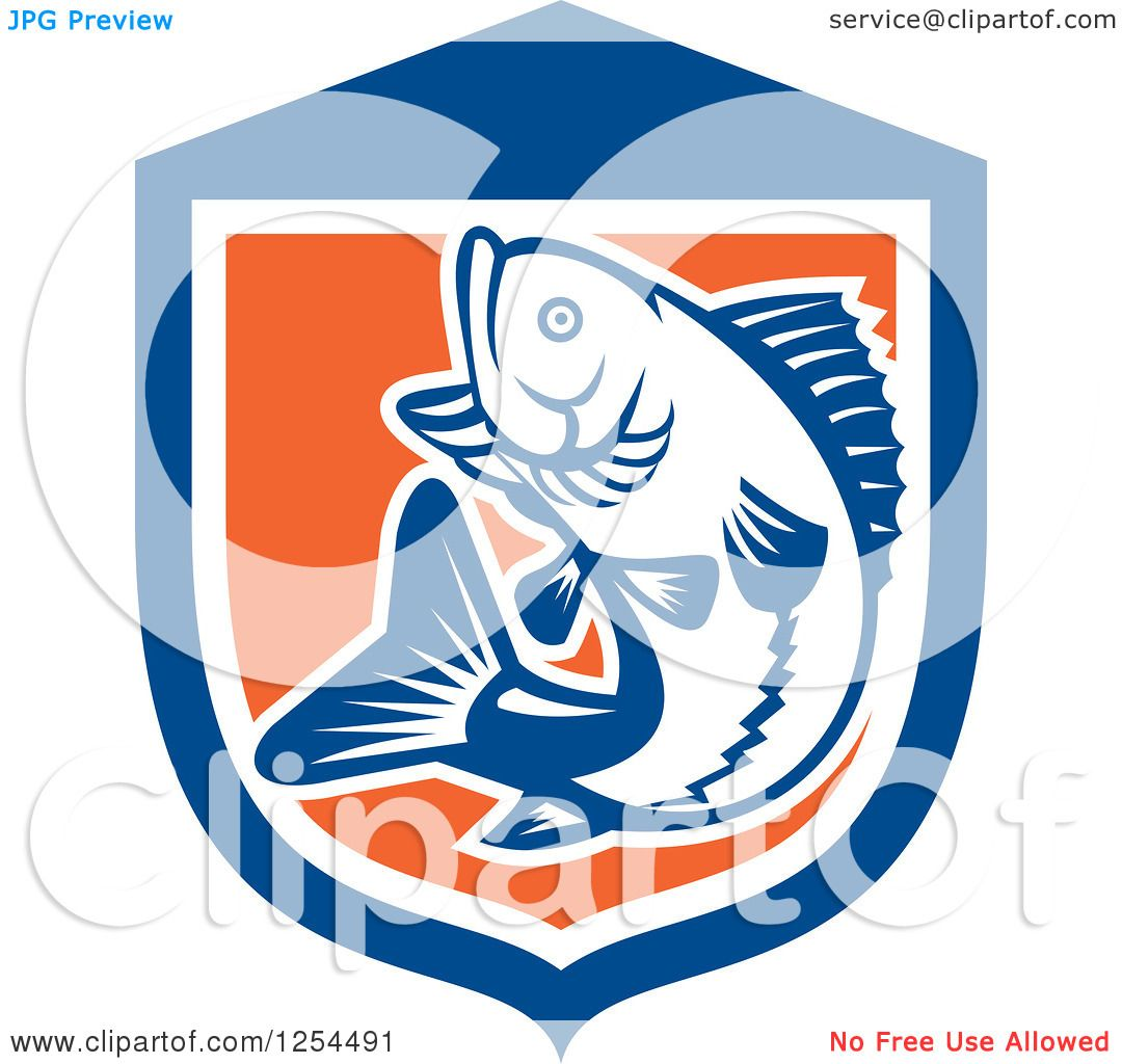 hight resolution of clipart of a retro woodcut largemouth bass fish jumping in a blue and orange shield royalty