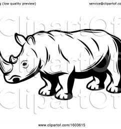clipart of a rhinoceros in black and white royalty free vector illustration by vector tradition [ 1080 x 1024 Pixel ]