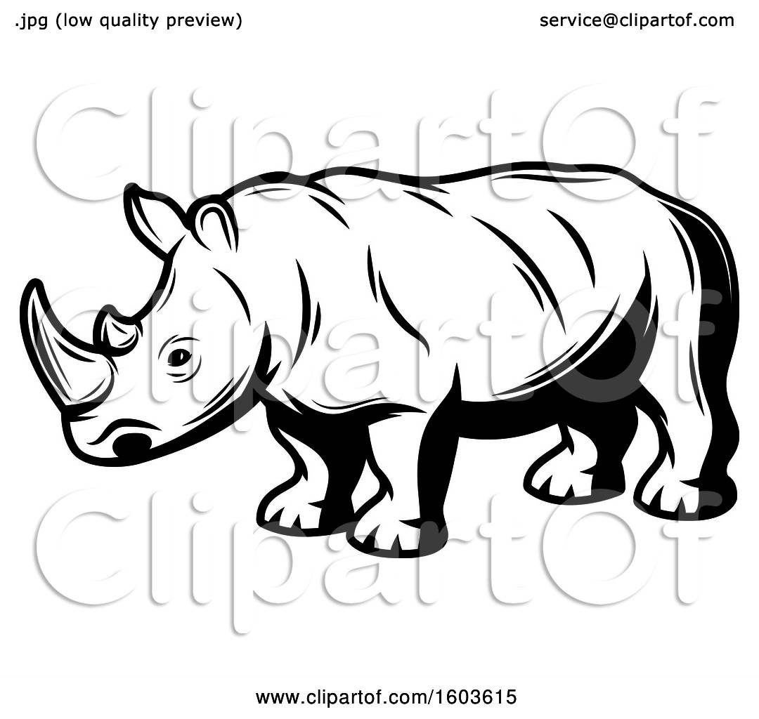 hight resolution of clipart of a rhinoceros in black and white royalty free vector illustration by vector tradition