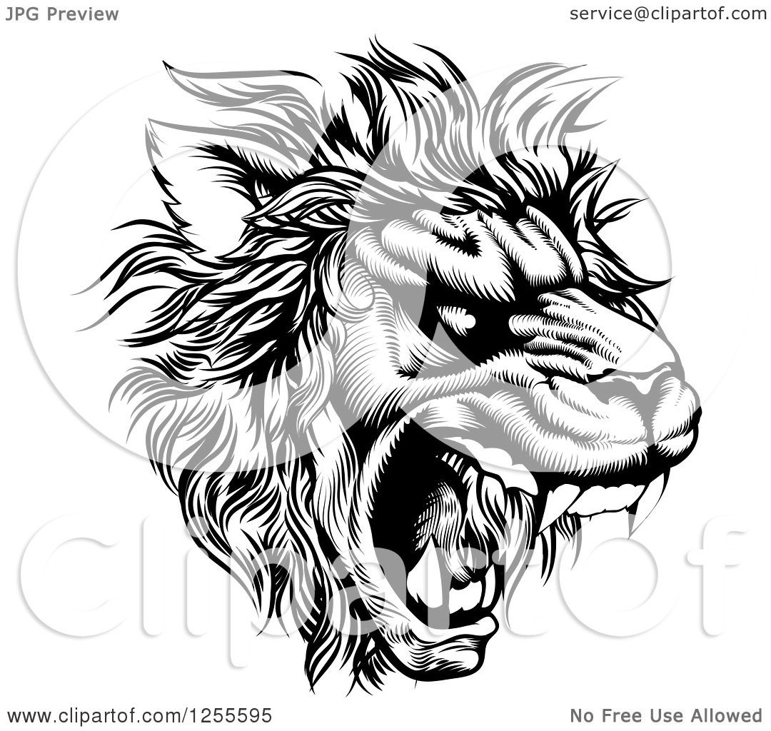 Clipart Of A Roaring Lion Mascot Head In Black And White