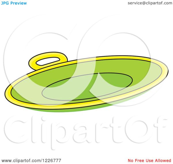 Clipart Of Green Sled Snow Saucer - Royalty Free