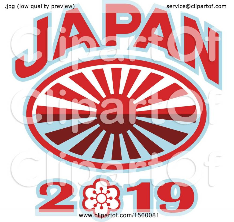 medium resolution of clipart of a rugby ball with a japanese flag rising sun and japan 2019 text