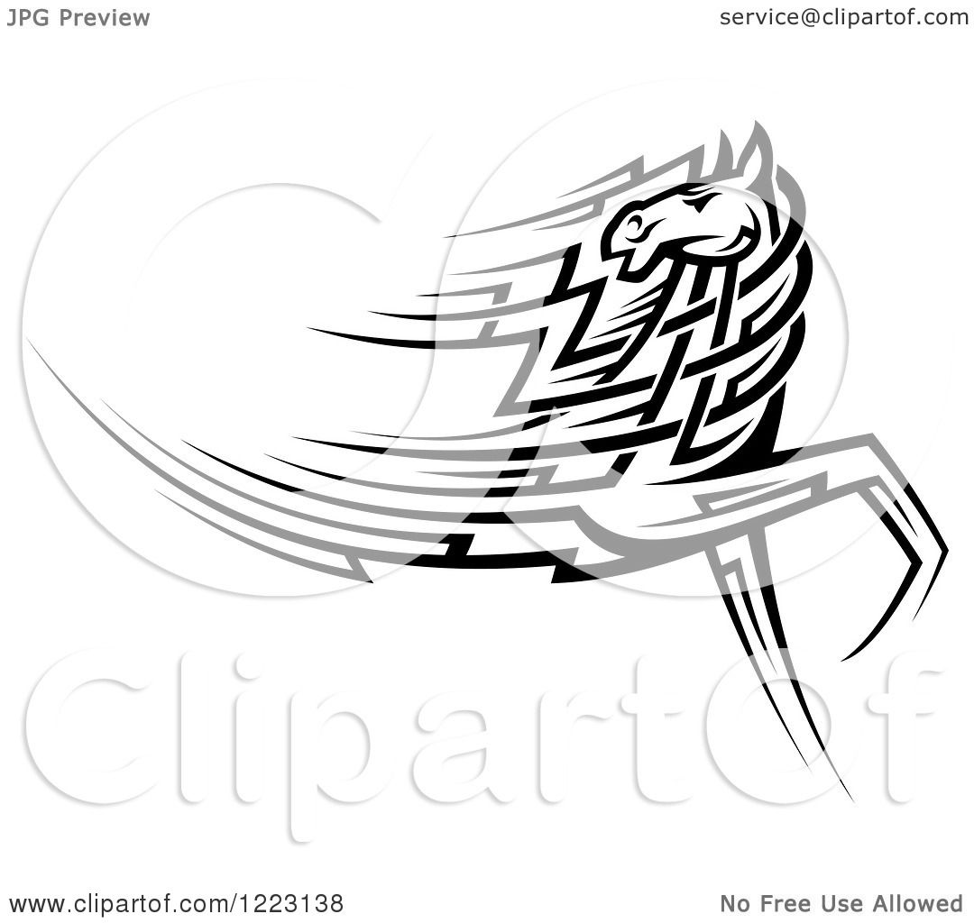 Clipart Of A Running Black And White Tribal Horse Looking