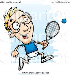 clipart of a running caucasian man racquetball player royalty free vector illustration by cory thoman [ 1080 x 1024 Pixel ]