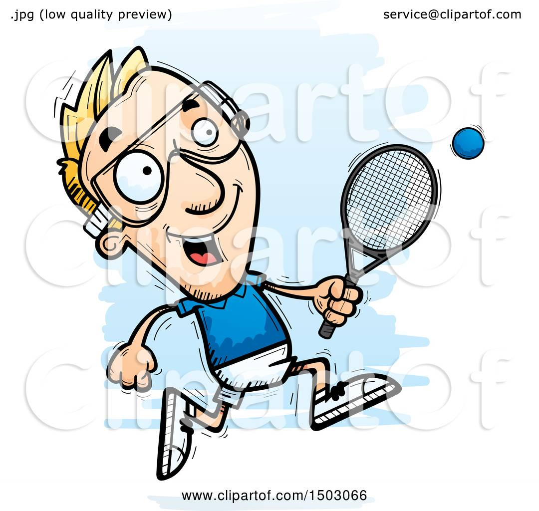 hight resolution of clipart of a running caucasian man racquetball player royalty free vector illustration by cory thoman