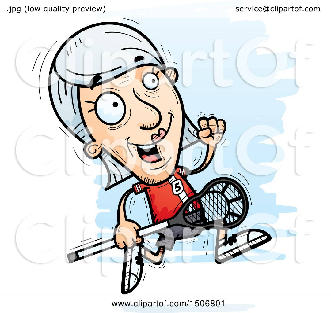 hight resolution of clipart of a running senior white female lacrosse player royalty free vector illustration by cory thoman
