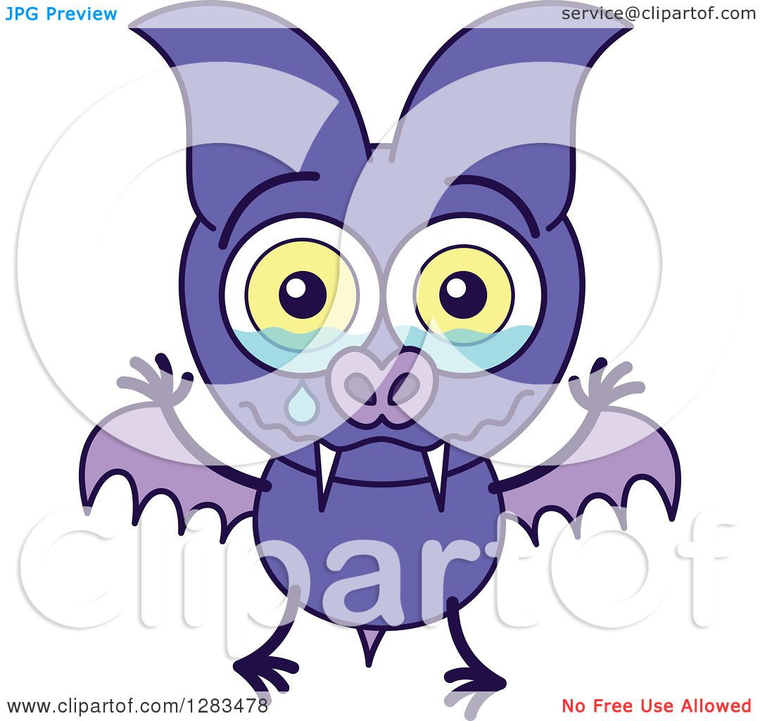 hight resolution of clipart of a sad crying purple vampire bat royalty free vector illustration by zooco