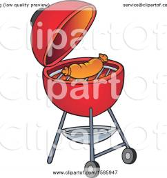 clipart of a sausage cooking on a red bbq grill royalty free vector illustration by [ 1080 x 1024 Pixel ]