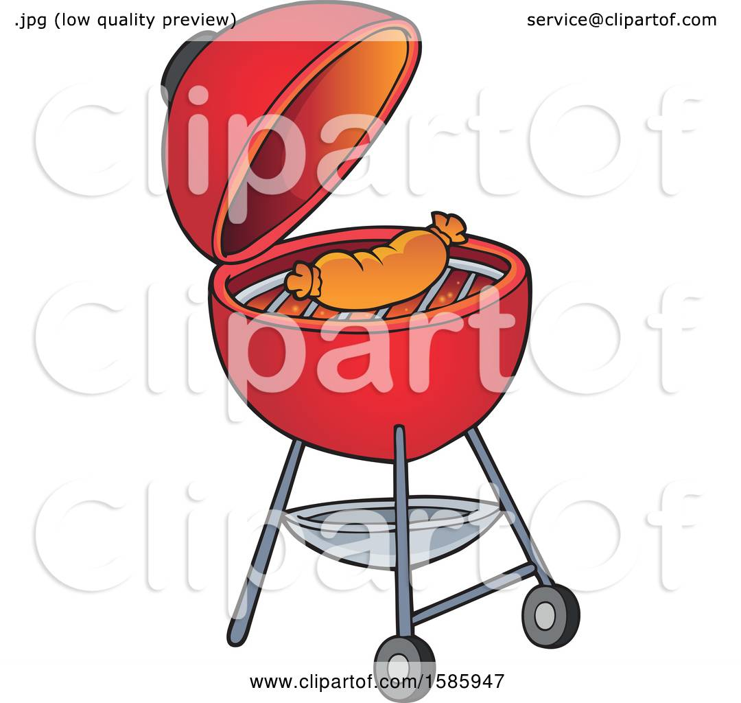 hight resolution of clipart of a sausage cooking on a red bbq grill royalty free vector illustration by