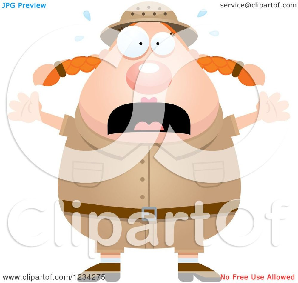 medium resolution of clipart of a scared screaming safari or explorer woman royalty free vector illustration by cory