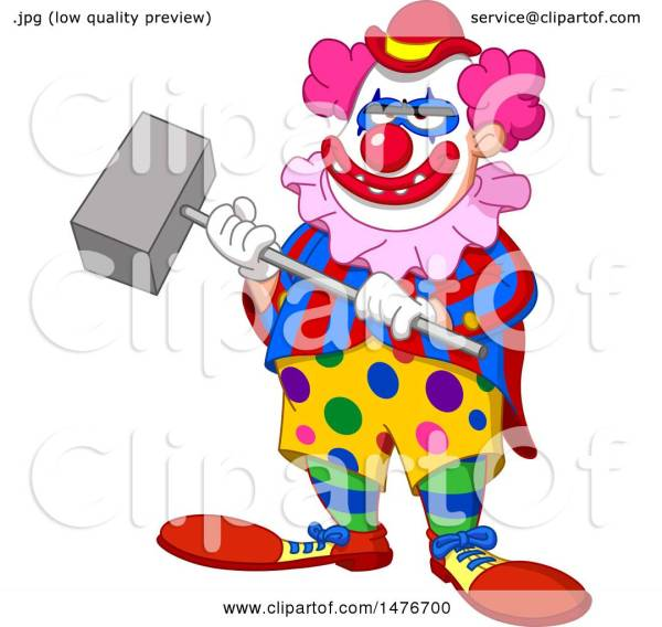 clipart of scary evil clown holding