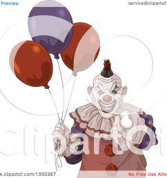 clipart of a scary halloween clown pointing at the viewer and holding party balloons royalty free vector illustration by pushkin [ 1080 x 1024 Pixel ]