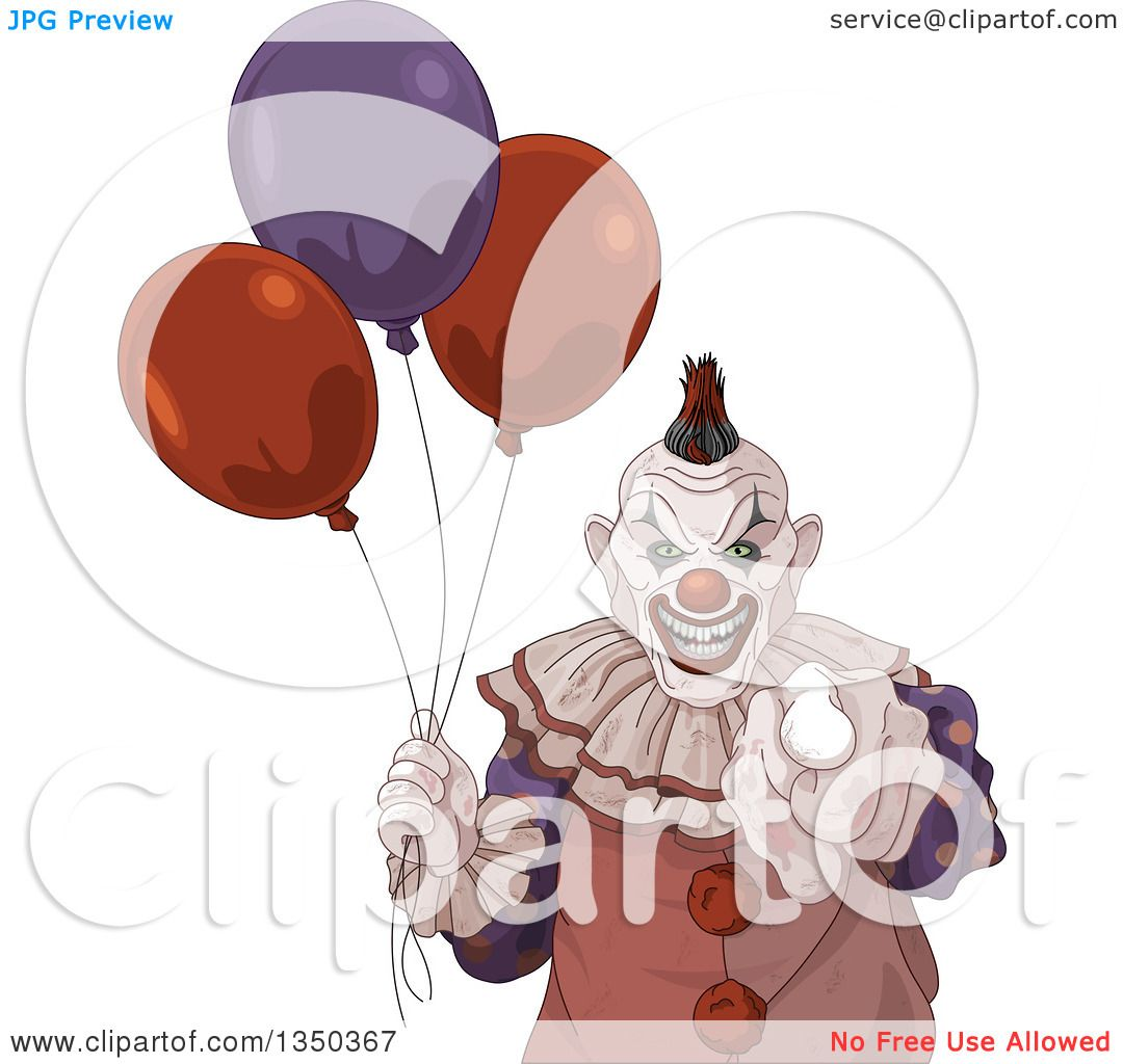 hight resolution of clipart of a scary halloween clown pointing at the viewer and holding party balloons royalty free vector illustration by pushkin