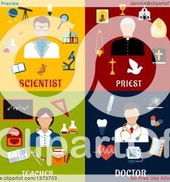 clipart of a scientist priest teacher and doctor with text royalty free vector illustration by vector tradition sm [ 1080 x 1024 Pixel ]