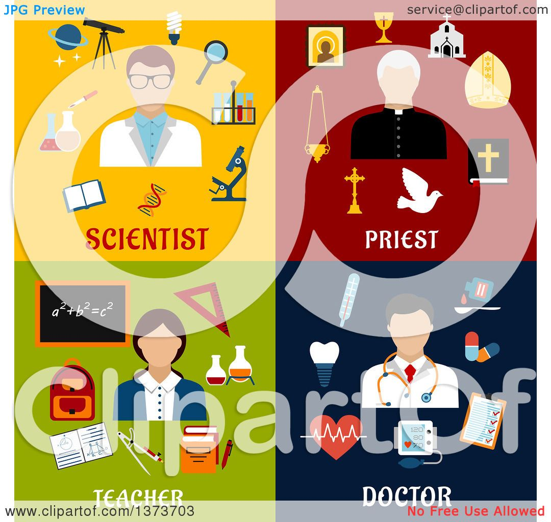 hight resolution of clipart of a scientist priest teacher and doctor with text royalty free vector illustration by vector tradition sm