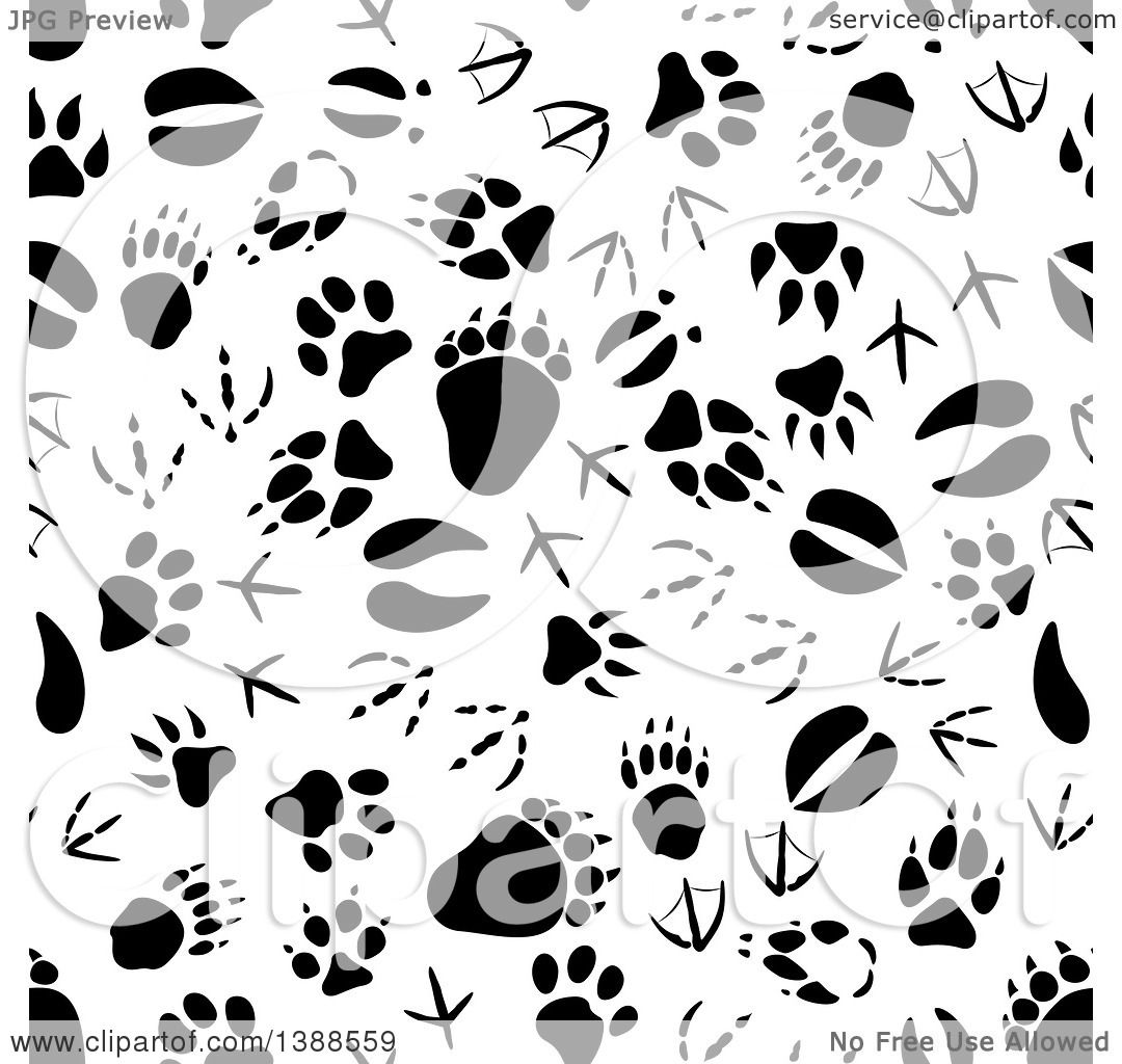Clipart Of A Seamless Background Pattern Of Black Animal Tracks