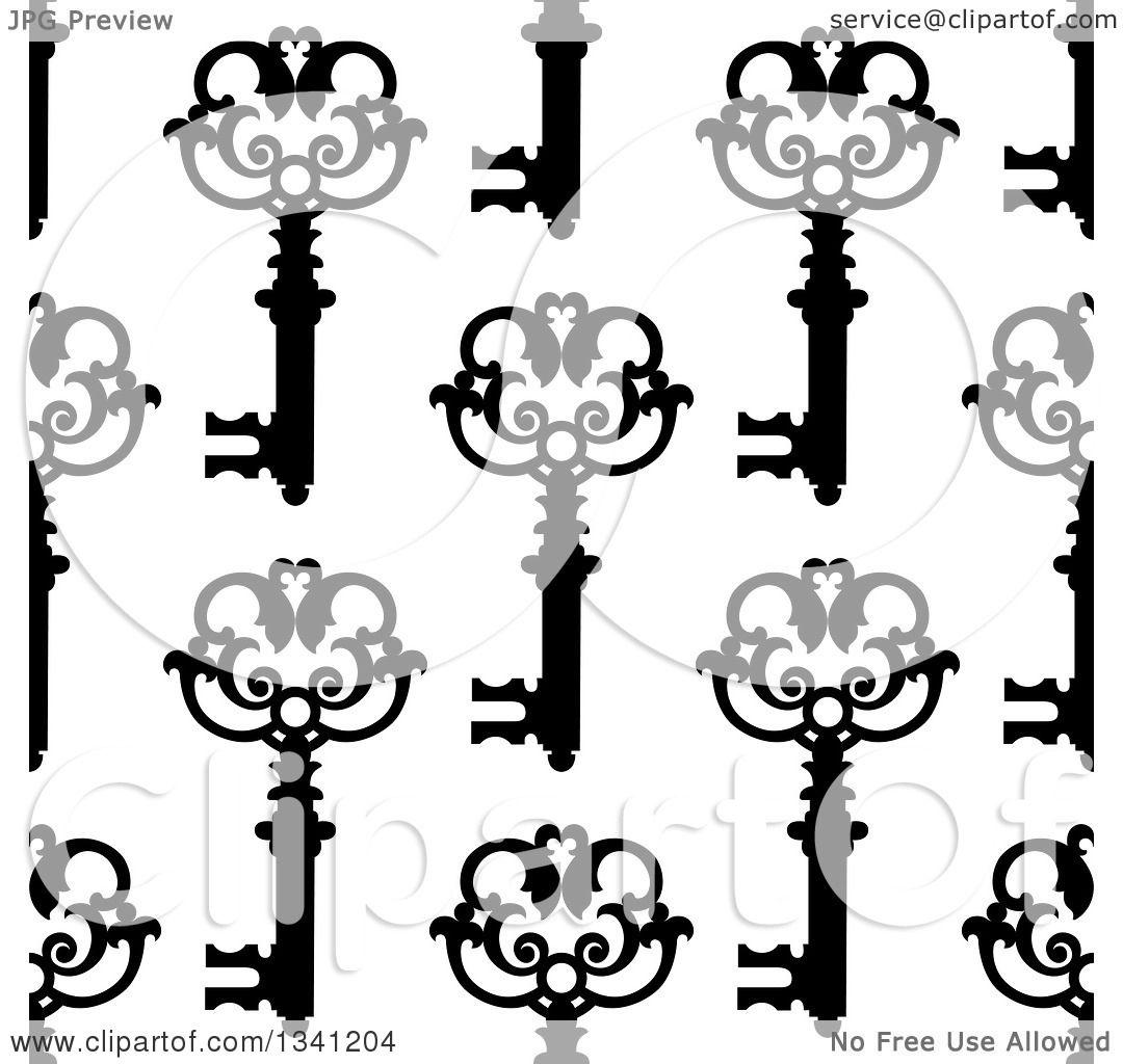 Clipart Of A Seamless Background Pattern Of Ornate Black Vintage Skeleton Keys On White 7