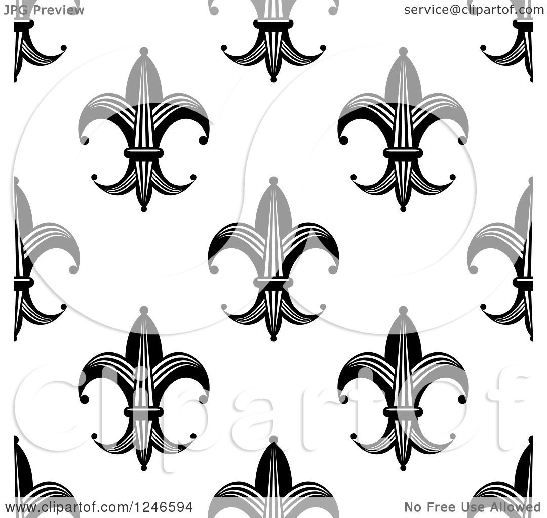 Clipart Of A Seamless Black And White Fleur De Lis Background Pattern 12