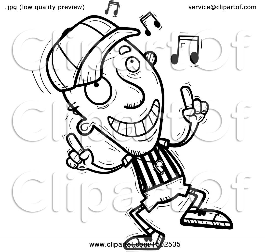 Clipart Of A Senior Male Referee Doing A Happy Dance