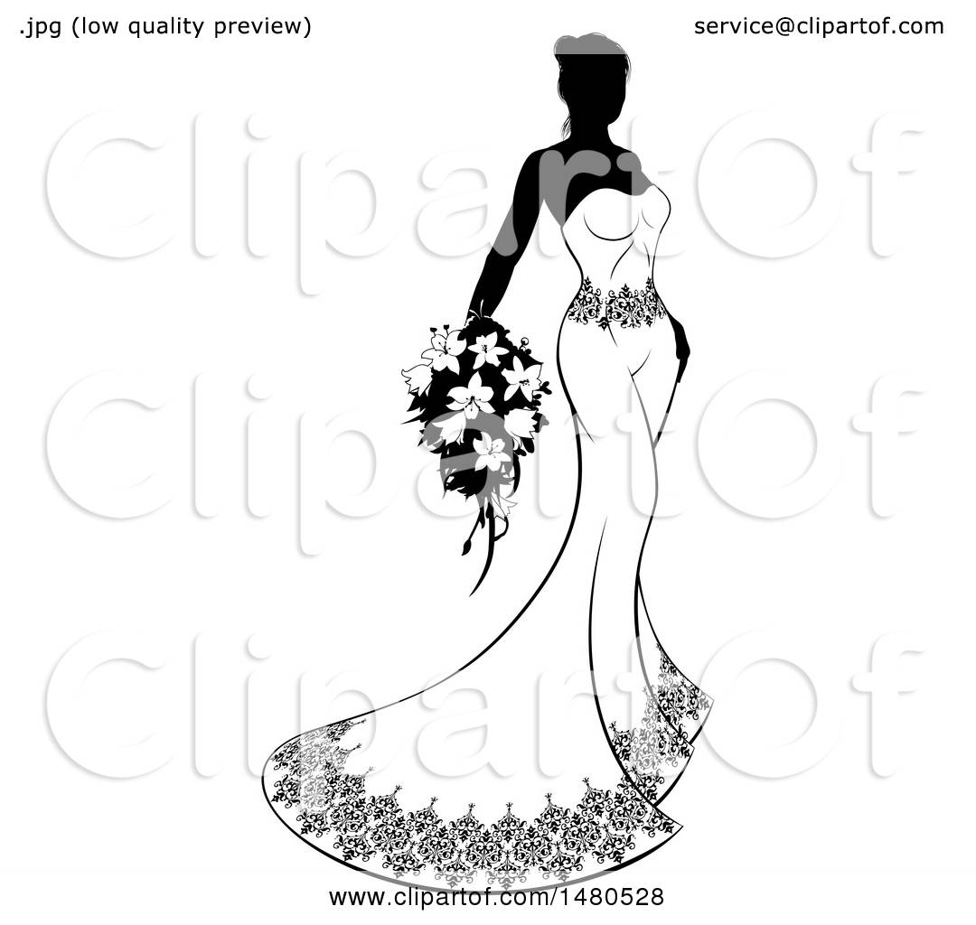 hight resolution of clipart of a silhouetted black and white bride with flowers royalty free vector illustration by