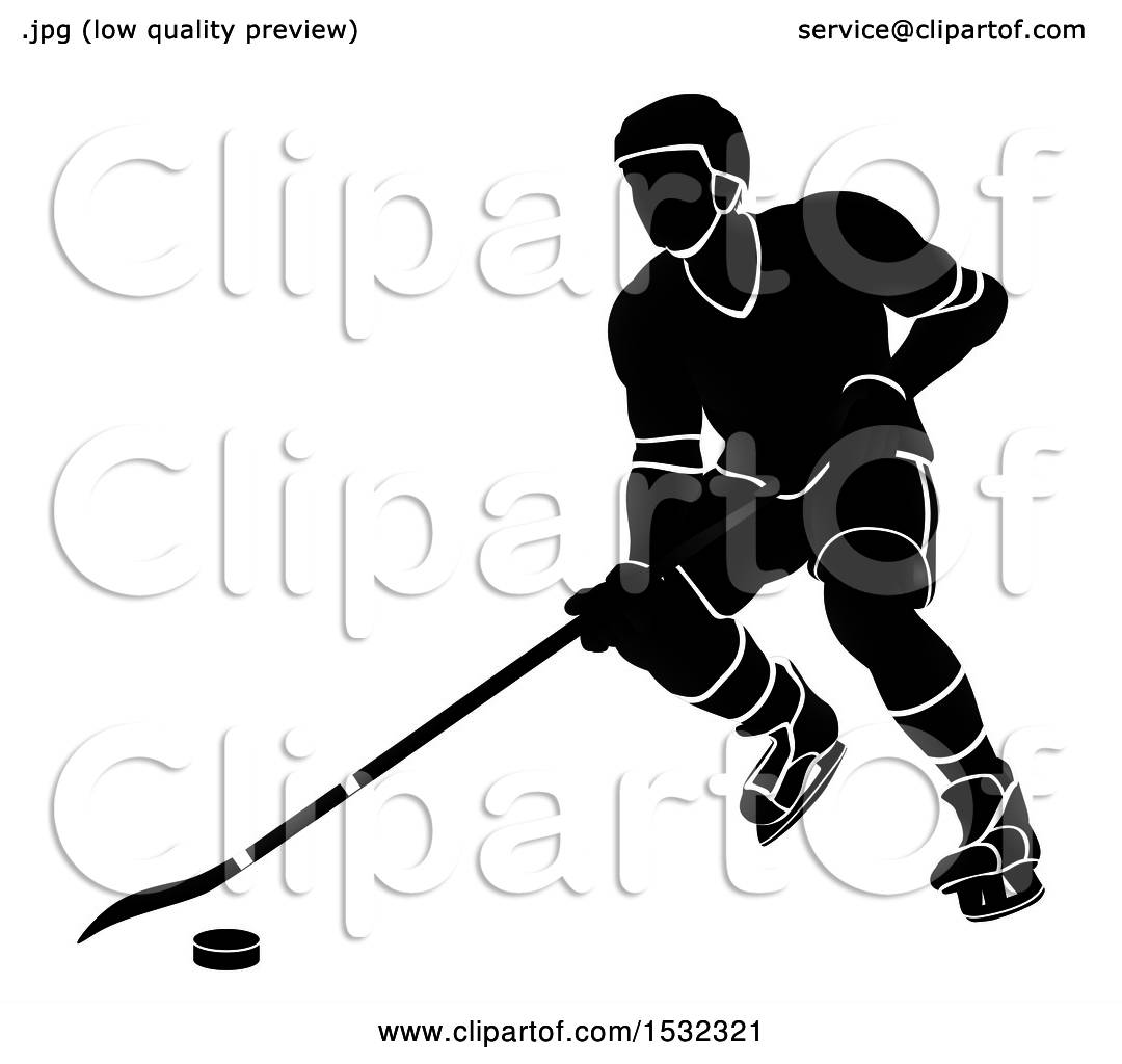 hight resolution of clipart of a silhouetted black and white ice hockey player royalty free vector illustration by