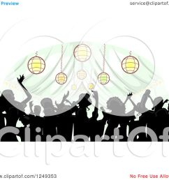 clipart of a silhouetted crowd dancing inside a wedding reception party tent royalty free vector [ 1080 x 1024 Pixel ]