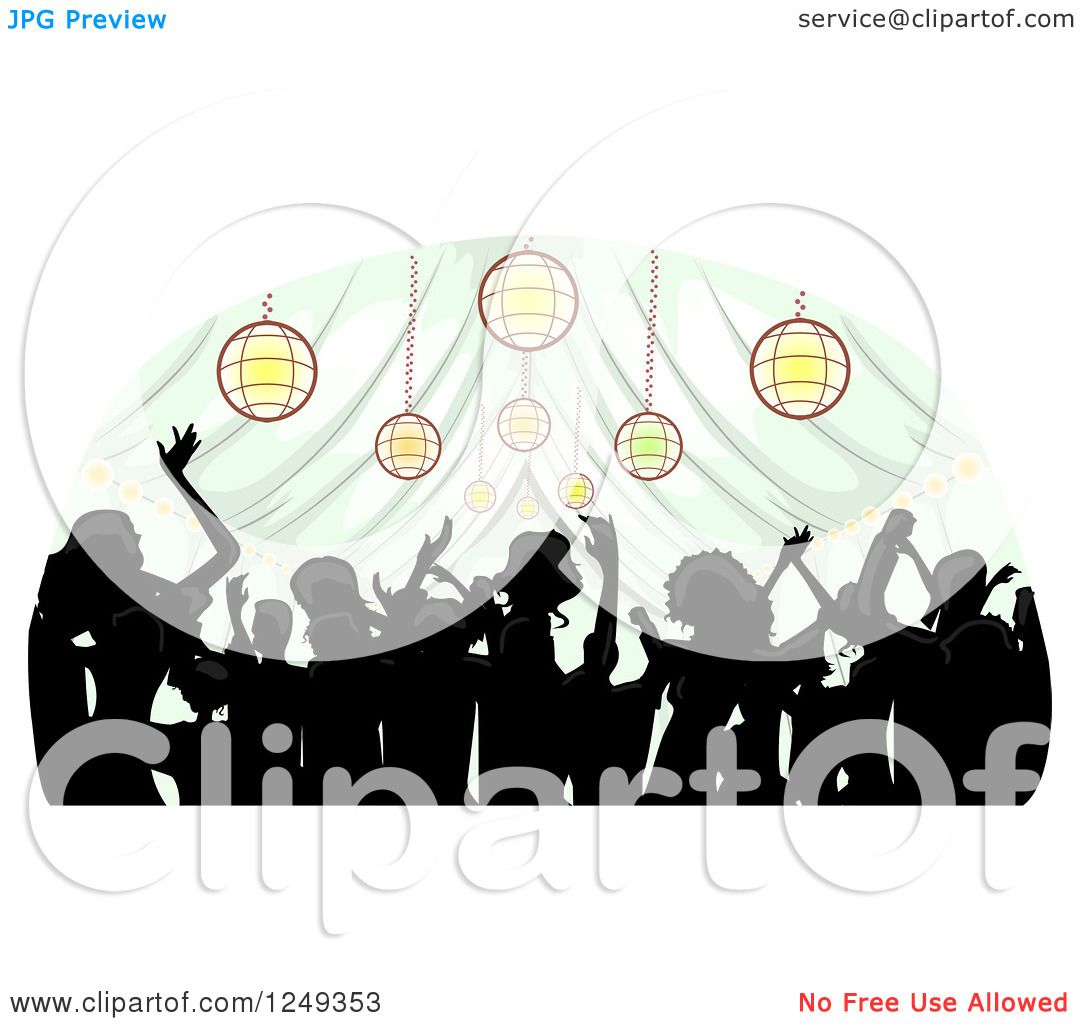 hight resolution of clipart of a silhouetted crowd dancing inside a wedding reception party tent royalty free vector