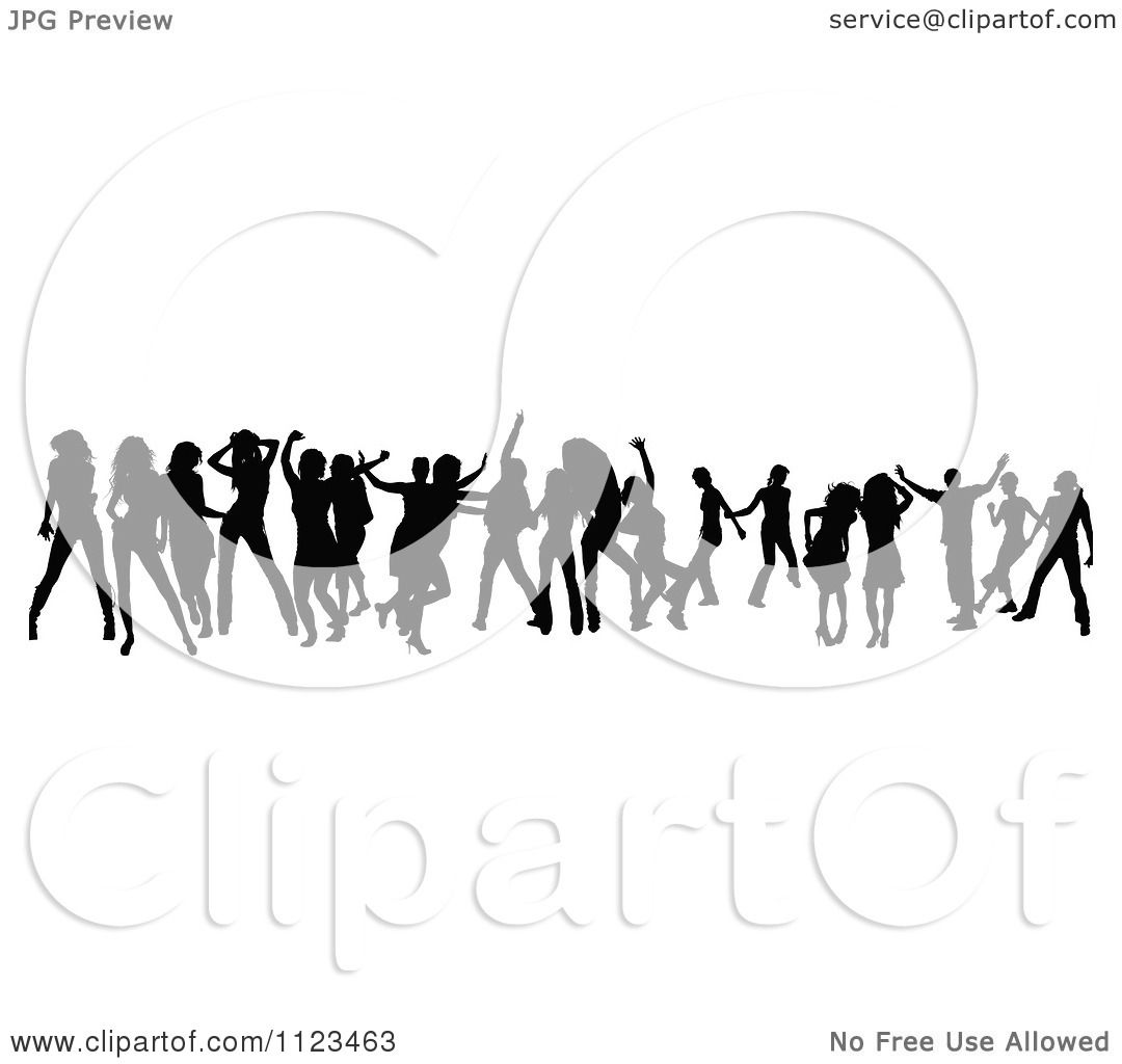 Clipart Of A Silhouetted Crowd Of Dancers 22