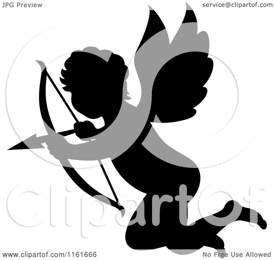 hight resolution of clipart of a silhouetted cupid aiming his arrow royalty free vector illustration by vector tradition